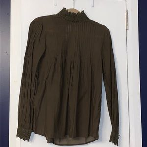 Worn ONCE H&M Olive Lace Loose Turtle Neck